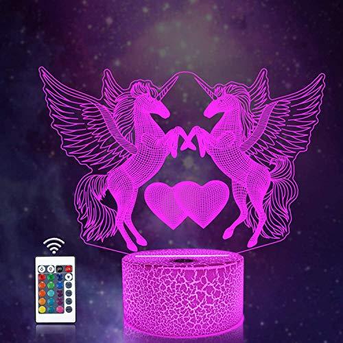 CooPark 3D Einhorn lampe Fairy Illusion lichter 16 Farben & Fernbedienung Optische LED Nachtlicht Nachttisch Beleuchtung Geschenke Spielzeug von Mädchen Junge Kinder für Geburtstagsferien Weihnachten