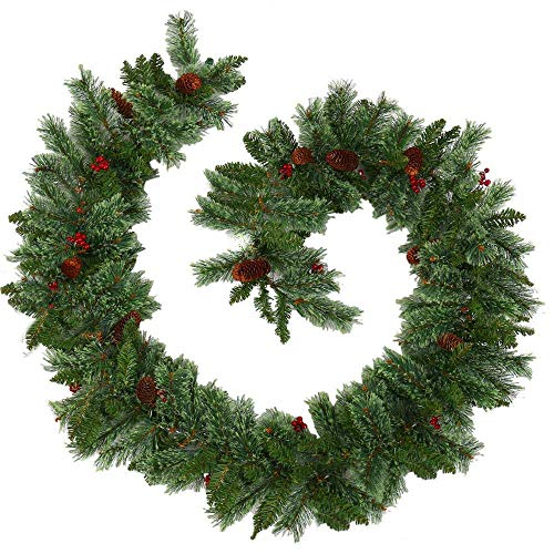 Christmas wreath 9FT/2.7M Christmas Garlands Decoration, Decorated Berries Garland Green Artificial Garland for Stair Fireplaces Indoor and Outdoor Xmas Tree Decoraction ,Wreaths & Garlands,Red Berrie