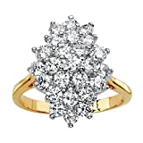 Palm Beach Jewelry 14K Yellow Gold Plated Round Cubic Zirconia Marquise Shaped Cluster Ring Size 7