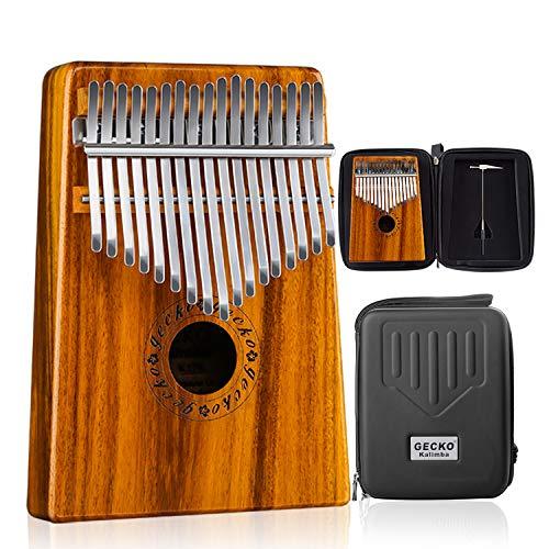 GECKO Kalimba 17 Keys Acacia(KOA) Thumb Piano and EVA High Performance Protection Box, Tuning Hammer, Professional models.