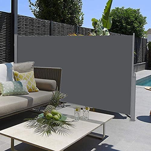 SogesHome Toldo lateral retráctil toldo lateral extraíble y protección contra el viento para terraza, balcón, patio (gris oscuro), 300 x 120 cm, SH-MH038-312G