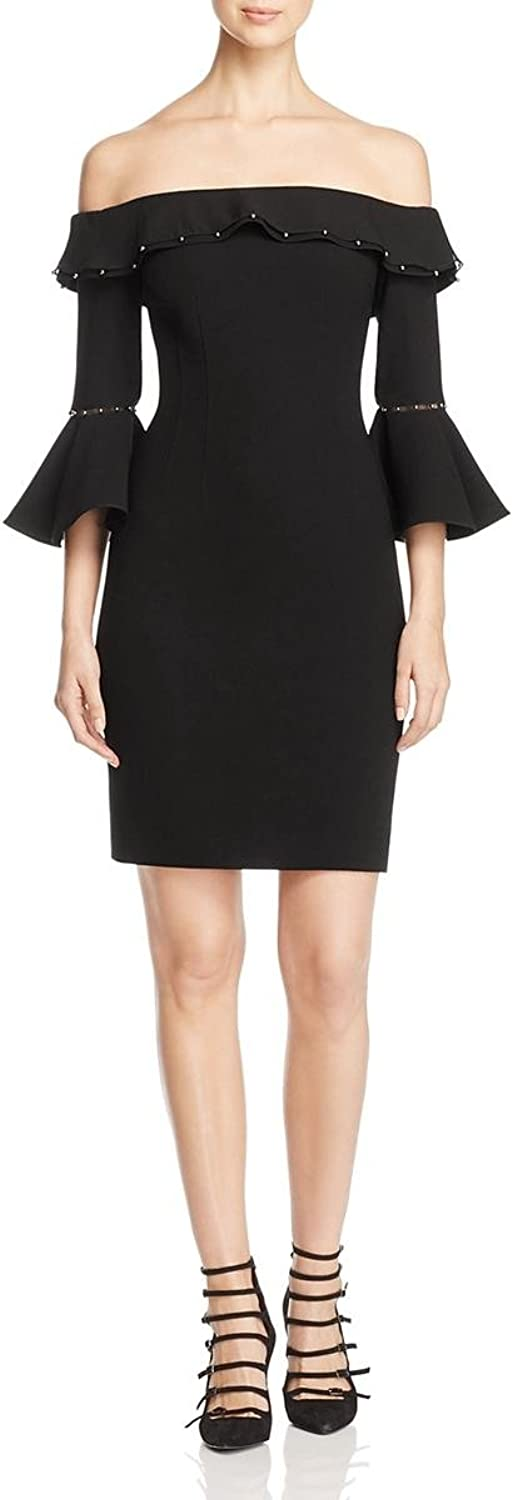 Elie Tahari Womens Lucia Ruffled Beaded Cocktail Dress