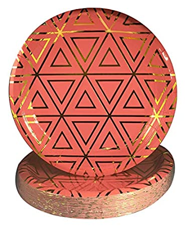 tribal boho paper plates coral gold