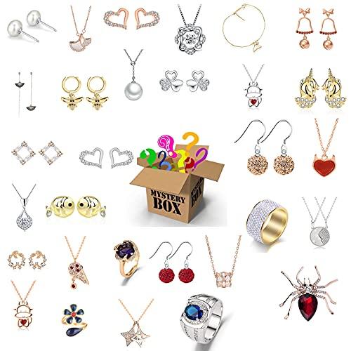 JEDNF Caja de Misterio para Mujeres, joyería Lucky Box, Caja de joyería ciega de joyería, Contiene 15 exquisitas Joyas, Perfecto Regalo Sorpresa para tu Amante o para ti.
