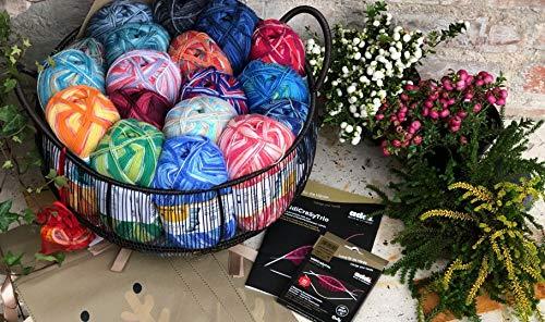 Wollpaket 16 x Sockenwolle a 100g, incl. Korb, CraZyTrio Nadeln, Zubehör & Anleitungsheft GESCHENKSocken Stricken Wert über 200€