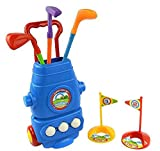 Littlefun Kids Golf Cart Set with 3 Kinds of Clubs 2 Holes 3