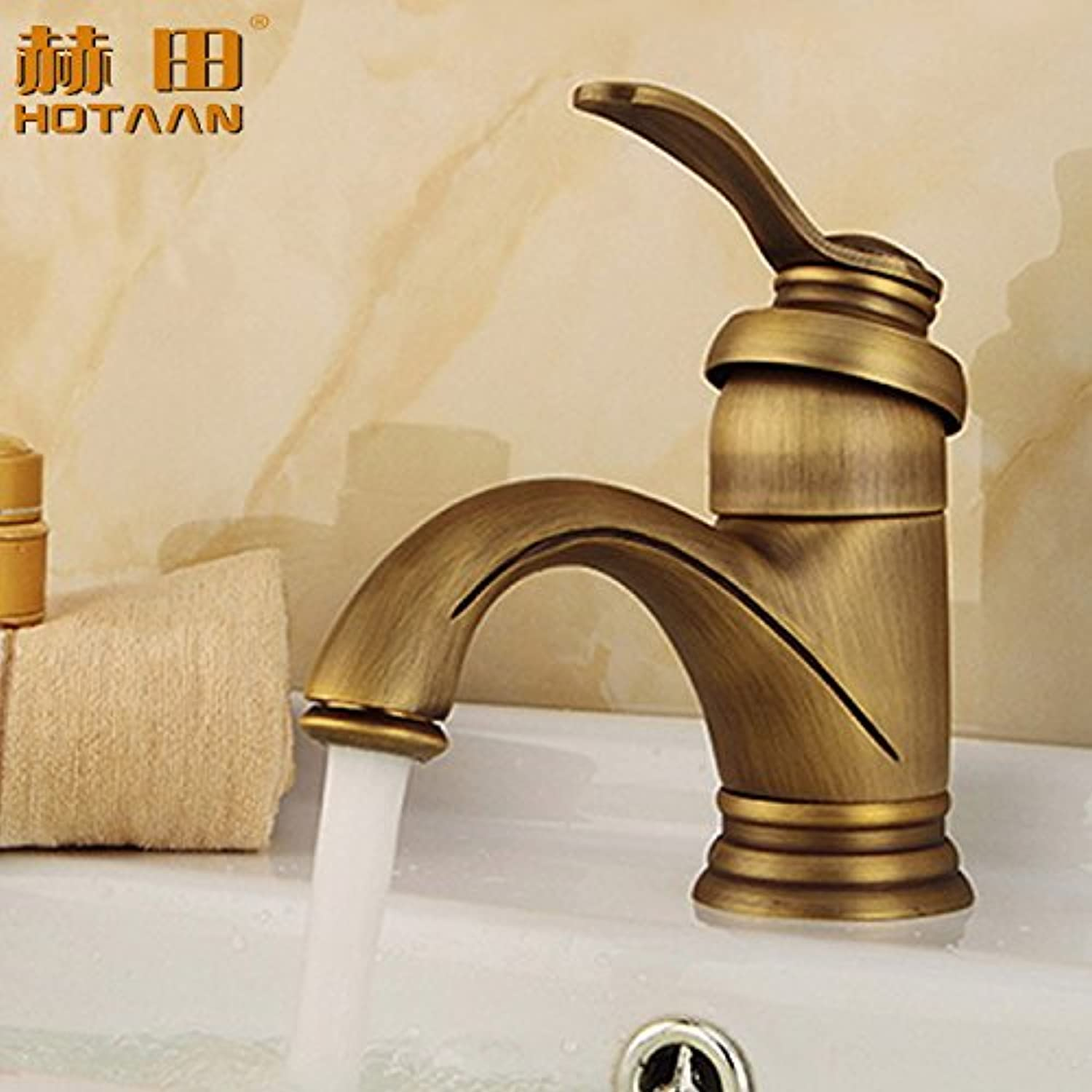Hlluya Professional Sink Mixer Tap Kitchen Faucet The Antique brass faucet antique faucet bronze basin-wide single hole lowered basin mixer