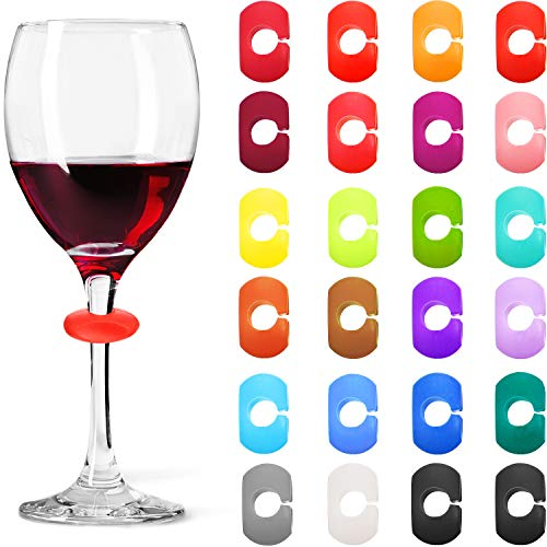 24 Pieces Wine Glass Charms Markers Drink Markers for Wine Glass Champagne Flutes Cocktails,...