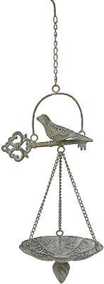 Brogan Small Bird Bath for Outdoors Hanging, Birdbath or Bird Feeders Shell-Shaped Bowl for Outside Garden Patio Decorative Ornaments, Perched Bird Detailed, Cast Iron (Patina)
