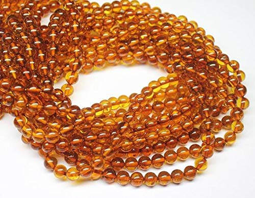 LOVEKUSH LKBEADS Natural Real Naranja Ámbar Bola redonda lisa con cuentas sueltas de 40,6 cm de largo 6 mm Código HIGH-27760