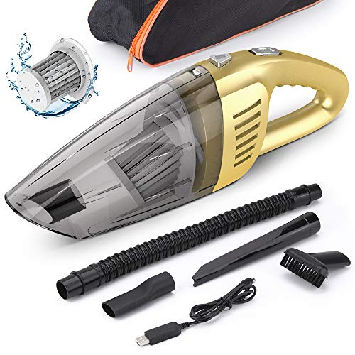 Car Vacuum, Beusoft Portable Vacuum Cleaner for Car, Handheld Vacuum Cleaner, 120W 7000PA High Power Cordless Car Vacuum, Wet and Dry Use, Strong Suction, Best for Car Detailing,Golden