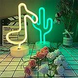 ENUOLI - Luz de neón con forma de cactus de luz de neón, luz de noche con base de batería/lámpara de mesa alimentada por USB, iluminación para dormitorio, Navidad, luz de neón para fiestas y bodas