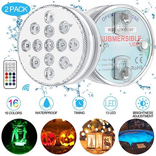 Unterwasser Licht GolWof 2 Pack 13 LED Multi Farbwechsel Wasserdichte LED Leuchten mit Fernbedienung Dekoration Unterwasserlicht für Vase Badewanne Brunnen Schwimmbad Garten Halloween Weihnachten