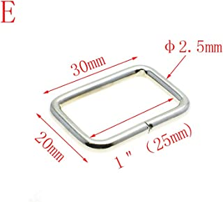 25pcs Metal Wire Formed Rectangle Ring Loops (Nickel, 1''(25mm))