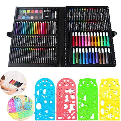Set di strumenti da disegno per bambini, JiaHome 154 pezzi,Valigetta dell'Artista | Set Pennarelli Matite Pastelli Colorati | Ottima Idea Regali per Bambini,Set Kit Creativo per Disegnare E Colorare