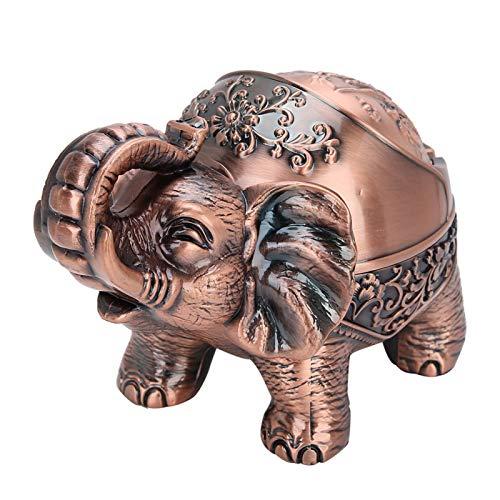 Demeras Cenicero Cenicero de Cigarrillos portátil Creativo con Cubierta para decoración de Escritorio de habitación de Oficina Adornos de Coche para el día del Padre(Standing Elephant Red Copper)