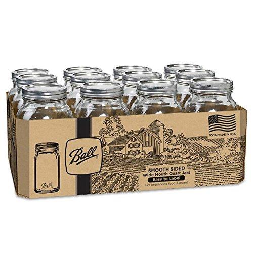 Koro ● Ball Mason Jar Regular Mouth ● Bormioli Fido – Juego de 12 ● ● 945 ml ● 32 oz ● resistente al aire se puede cerrar ● Lavavajillas