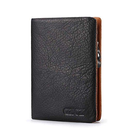 FAY Portafoglio da Uomo in Vera Pelle, Portafoglio di Blocco RFID Morbido e Sottile con Porta Documenti e Porta Carte di Credito,B