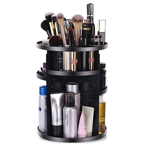 Makeup Organizer 360 Degree Rotating Cosmetic Storage Box, DIY Adjustable Makeup Carousel Holder Storage Rack, Large Capacity Make up Caddy Shelf Cosmetics Organizer Box, Great for Countertop(Black)