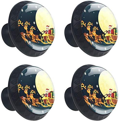 Weihnachtsbaum Santa Schlitten Mond Geschenk 4 Stück Schubladenknöpfe Kommode Möbelknöpfe Glas Moebelknauf Griff Garderobe Ziehgriffe Möbelgriff