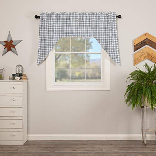 VHC Brands Sawyer Mill Blue Light Filtering Plaid Pattern Farmhouse Swag Set for Window 36x36x16 Curtain