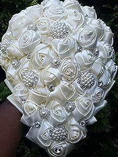 Made to order Brooch Bouquet Wedding Bridal Flowers Satin Roses Bride Bridesmaids BCUST-BRINA