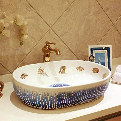 Waschbecken Mediterrane Europa Vintage Style ovale Keramik Waschbecken Badezimmer Zähler oben Waschbecken Handwaschbecken Blumenform