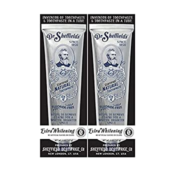 Dr Sheffield's Certified Natural Toothpaste  Extra-Whitening  - Great Tasting Fluoride Free Toothpaste/Freshen Your Breath Whiten Your Teeth Reduce Plaque  2-Pack