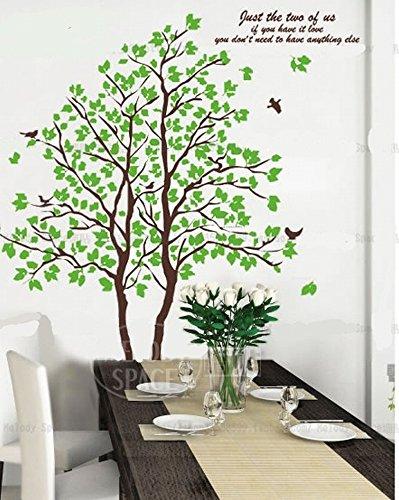 森林浴 【ウォールステッカー 木 鳥 大サイズ】 簡単 張替自在 壁紙シール ウォールステッカー 木 鳥 葉 新緑 樹木