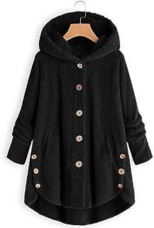 LUKEEXIN Winter Large Size Women Coats Button Coat Fluffy Tail Tops Hooded Pullover Loose Oversize Coats Warm Outwear Coats Women