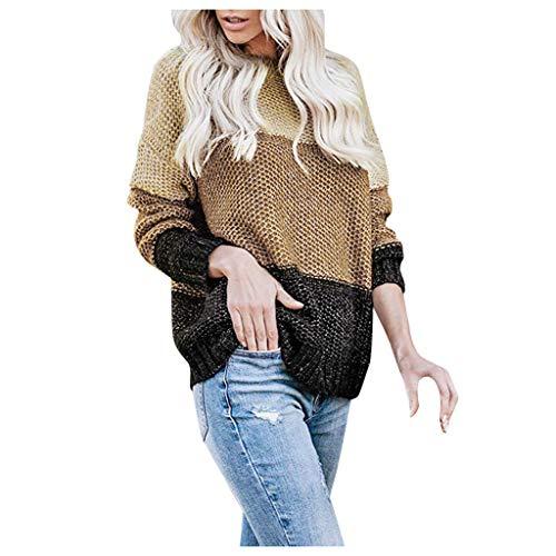 PKTOP suéter de Punto a Rayas para Mujer, Casual, Suelto, de Manga Larga, Sudadera Verde Caqui L