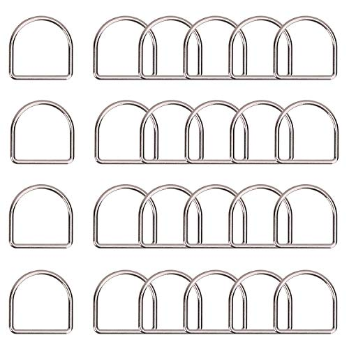 Trimming Shop Heavy-Duty Welded Metal D Ring Fasteners, Durable Buckles for Hand Bag, Webbing Strap, Purse, Dog Collars, Belts, DIY Projects, 40mm, Silver, 20pcs
