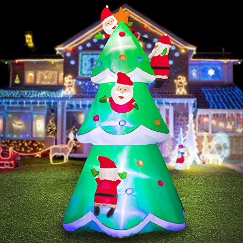 HOOJO 8 FT Christmas Inflatable Christmas Tree with Santa Clauses, Outdoor Decoration with Build in LEDs, Blow up Indoor, Yard, Garden Lawn Decoration