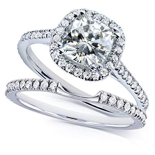 Kobelli Moissanite and Lab Grown Diamond Halo Bridal Rings Set 1 1/2 CTW in 14k White Gold (HI/VS, DEF/VS), 10