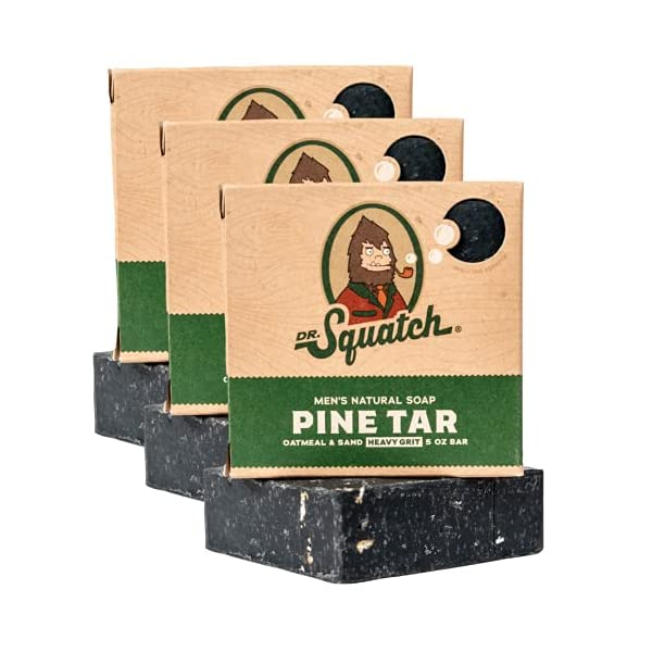 Dr. Squatch Pine Tar Soap 3-Pack Bundle – Mens Bar with Natural Woodsy Scent and Skin Exfoliating Scrub – Handmade with… 1