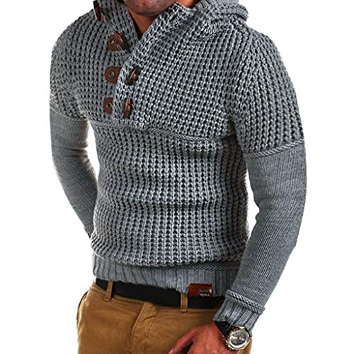 KaloryWee 2019 Herbst Winter Herren Strickpullover Warmer Pullover Kapuzenpullover Knopf Hoodie Drapieren Choker Pullover Bluse Top