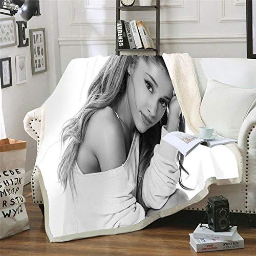 Manta Estampada Chica Noble Gris Blanca Terciopelo de Cristal Lateral A, Terciopelo de Lana Blanca Lado B (130 x 150 cm) para Sala de Estar, hogar,