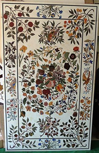 Cottage Handicrafts - Mesa de comedor de mármol blanco con incrustaciones de piedra multicolor