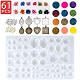 Sthabt - Resin Silicone Molds for Jewelry Pendant Bezels Casting Mold with Glitter and Flower Decoration DIY Artcraft Project Gift Making Tools Set for Beginners (61pcs)