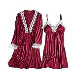 Luotuo Damen Erotik Nachtwäsche Sets Spitze Nachtwäsche Kimono Nachthemd Sexy Satin Dessous...