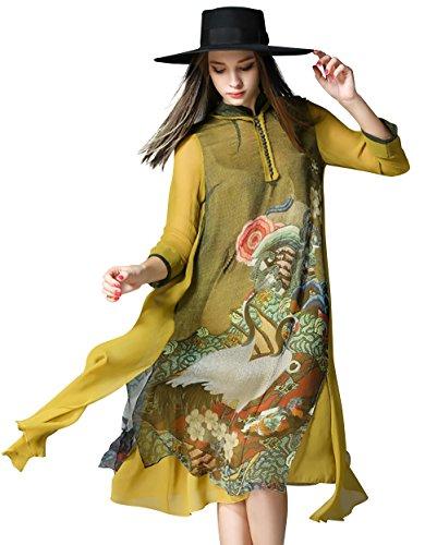 Women's Retro Oriental Mythology Prints 3/4 Sleeve Loose Button front Midi Dress