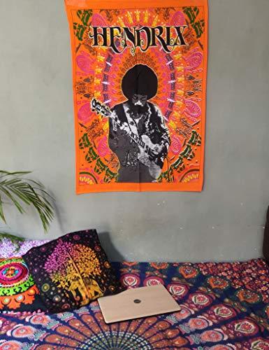 ICC Jimi Hendrix - Póster de guitarra (30 x 40 cm), diseño de Jimmie Hendrix, leyenda clásica del rock musical, bohemio, psicodélico, hippie (naranja)