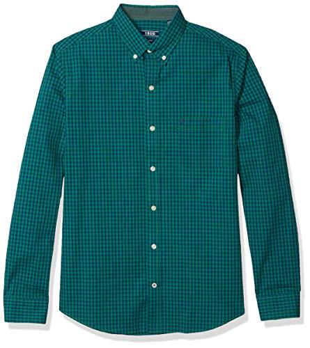 IZOD Men's Fit Button Down Long Sleeve Stretch Performance Gingham Shirt, Verdant Green, XX-Large Tall Slim