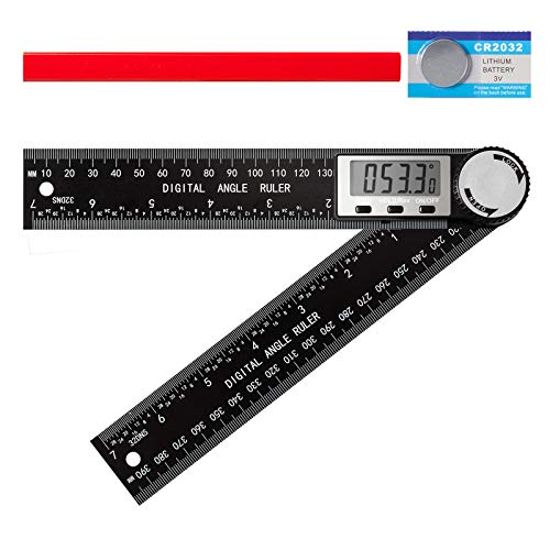 Digital Angle Finder Protractor 2 in 1 Angle Finder Ruler with 14inch/400mm for Woodworking/Carpenter/Construction/DIY Tools Battery and Carpenter Pencil Included