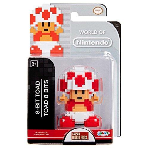 Nintendo Jakks Pacific Year 2016 World of Super Mario Bros. Series 2-1/2 Inch Tall Figure : 8-BIT TOAD