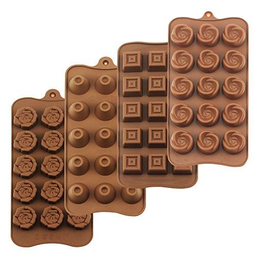 homEdge Molde para trufa, juego de 4 paquetes de moldes de silicona antiadherentes de grado alimenticio para gelatina de chocolate y dulces