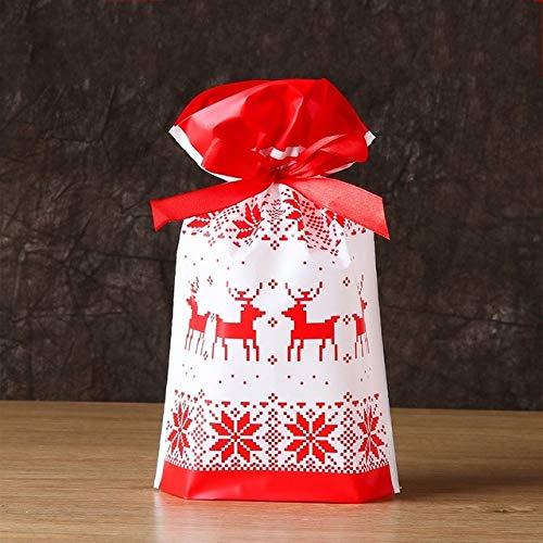 Kerstzakje van kunststof, 50/100 p 23 x 15 cm, met trekkoord, snoepjes, feestjes, verjaardagsdecoratie, bruiloft, geschenkzakje, jaar, in panty's, geschenken voor huis, tuin