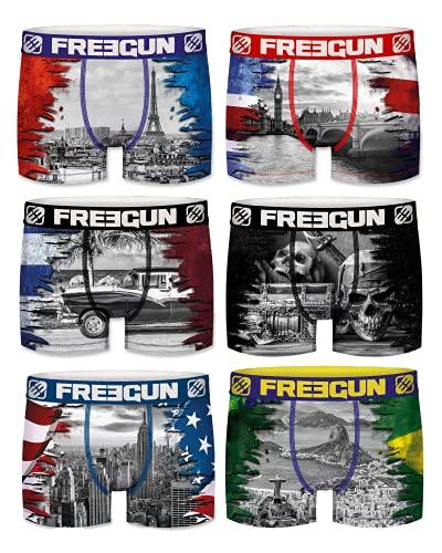 Freegun Herren-Boxershorts aus Mikrofaser, komfortabel, elastischer Gürtel – Fotokollektion Gr. M, Serie Flag