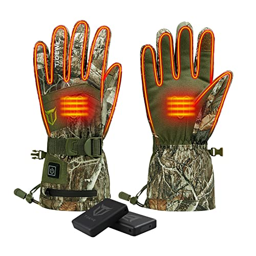 TIDEWE Heated Gloves with 2 Battery Packs, Waterproof Rechargeable Heating Gloves for Men Women, Thermal Warm Gloves for Hunting Fishing Skiing Snowboarding Cycling Skating Hiking (Camo, Size L)