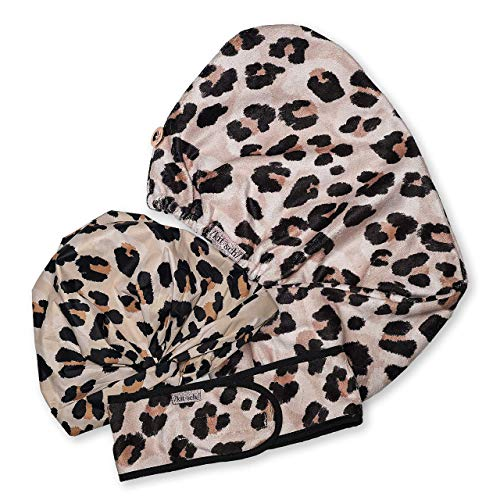 Kitsch Spa Headband, Microfiber Hair Towel and Luxury Shower Cap Cleanse Bundle (Leopard)